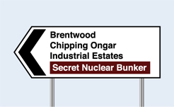 secret nuclear bunker road sign, UK