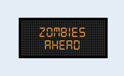 zombies ahead road sign, America