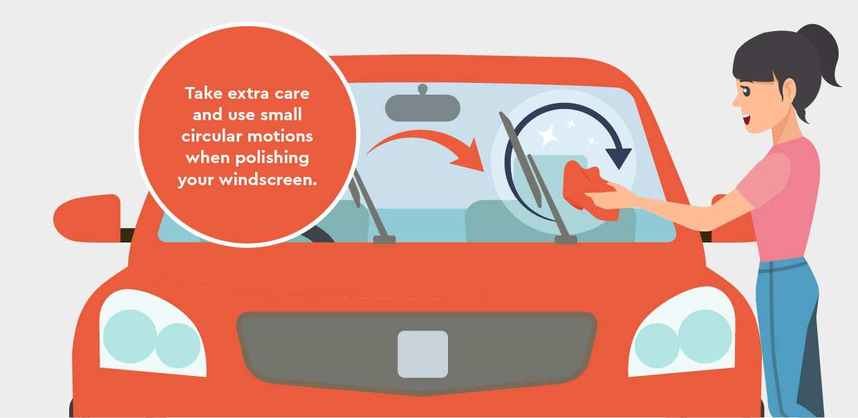 Take care and use small circular motions when polishing your windscreen