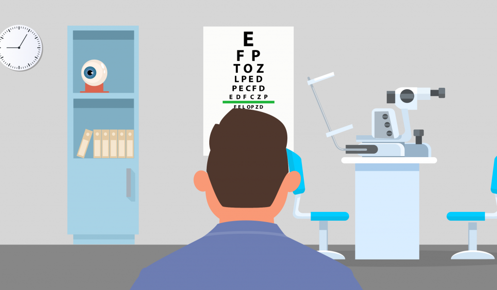 checking eyesight for driving on Snellen Scale