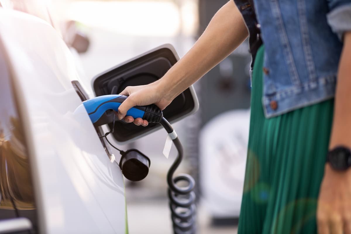 Electric or Hybrid Car Getting Charged